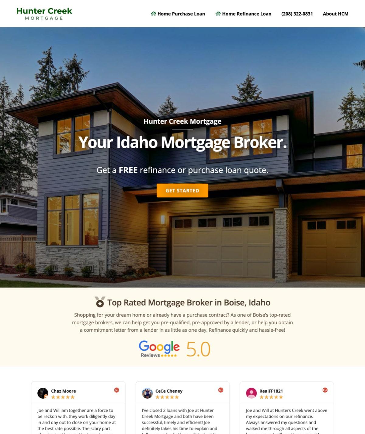 Boise web design - Hunter Creek Mortgage