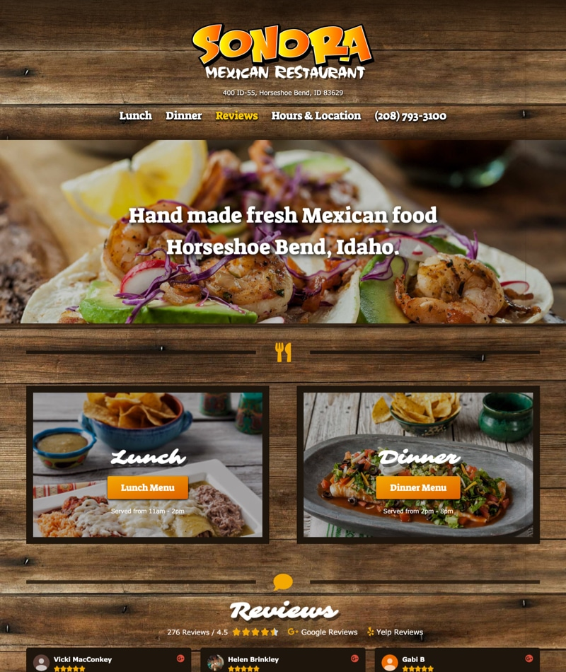 Boise web design - Sonora Mexican Restaurant